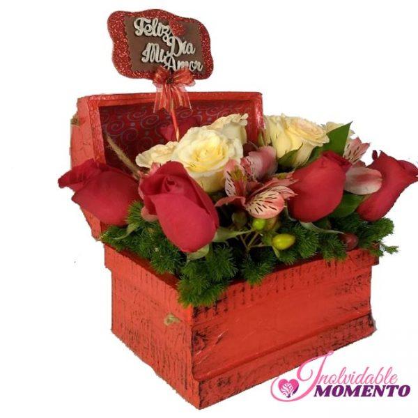 Comprar Regalo 5 Rosas 4 Rosas blanca letrero Cofre Pequeño