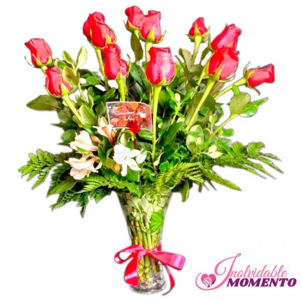 Comprar Regalo 12 Rosas en Florero