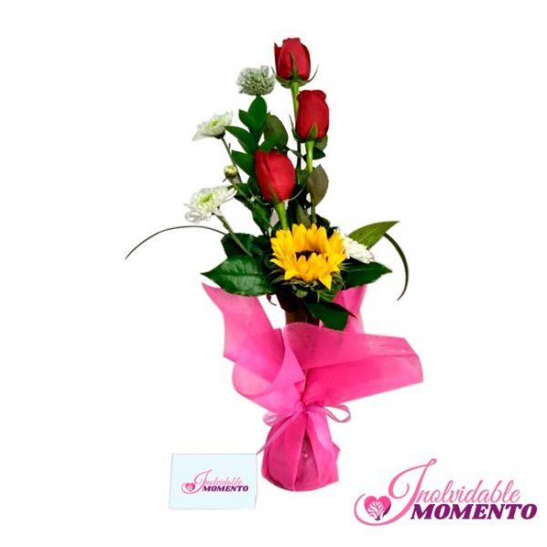 Comprar Regalo 3 Rosas y Girasol