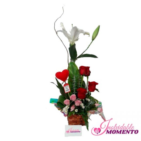 Comprar Regalo 4 Rosas Corazón 1Lirio y Mini Rosas