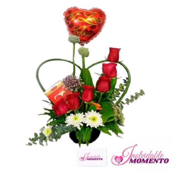 Comprar Regalo 6 Rosas 1 Globo y Chocolate