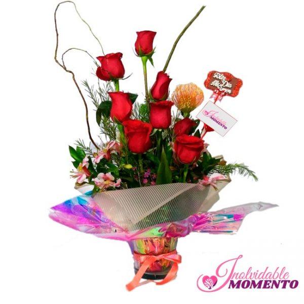 Comprar Regalo 8 Rosas y 1 Protea