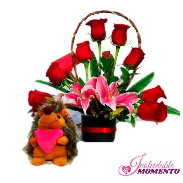 Comprar Regalo 8 Rosas 2 Lirio y Peluche