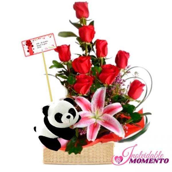 Comprar Regalo 9 Rosas 1 Lirio y Peluche