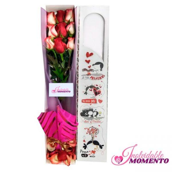 Comprar Regalo 9 Rosas Combinado En Caja
