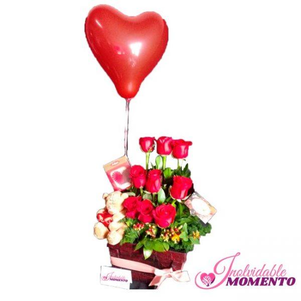 Comprar Regalo 9 Rosas Chocolate Peluche Globo de Helio Latex
